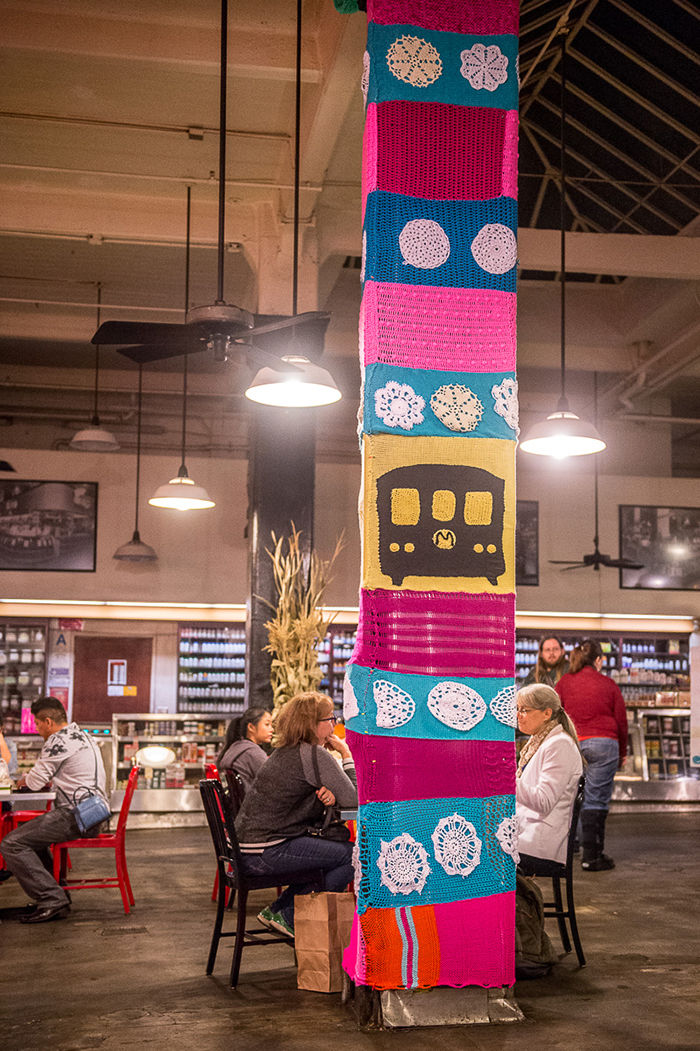 Yarn-o-polis is a site-specific, public art installation created by Yarn Bombing Los Angeles at the historic Grand Central Market food hall in Downtown L.A.