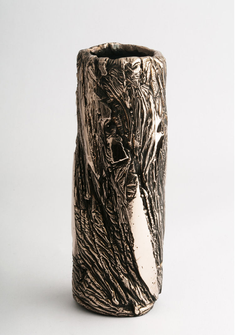 A slim bronze vessel by Driaan Claassen.