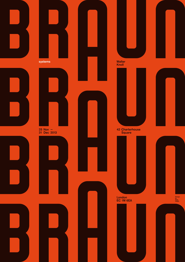 A poster designed for an exhibition of 1960s Braun products curated by Peter Kapos at the Walter Knoll Showroom in London.