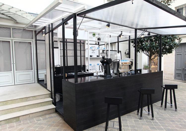 Young Guns 2015 Studio Dessuant Bone from Paris designed Honor Coffee branding, kiosk, and furniture