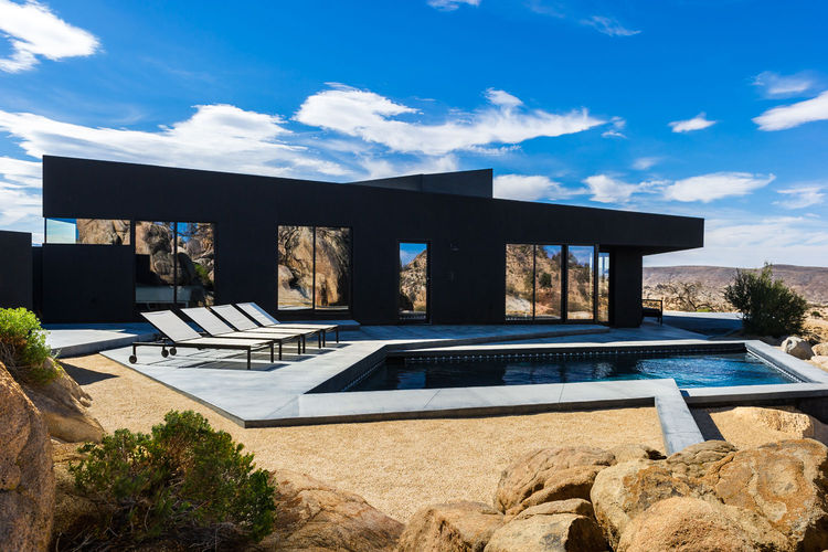 Pool and patio at the Yucca Valley house