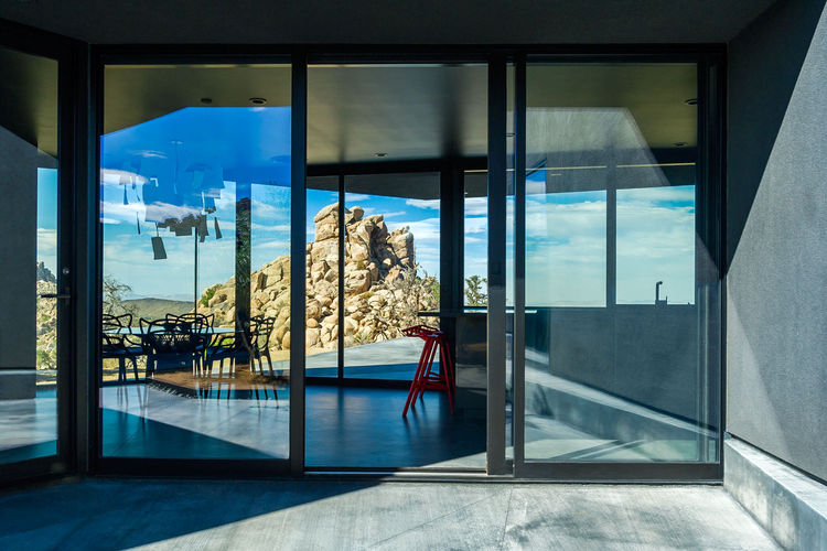 Sliding doors at the Yucca Valley house