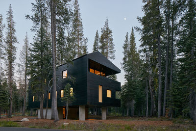 Facade of family retreat in California.