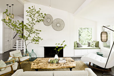 White living room in a renovated midcentury house