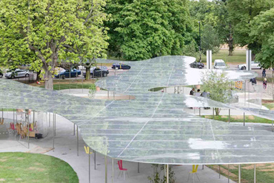 Serpentine Gallery Pavilion by SANAA photographed by Iwan Baan aerial view