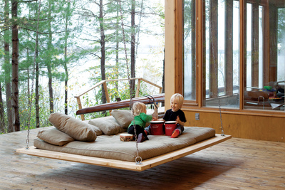 outdoor wooden hanging bed