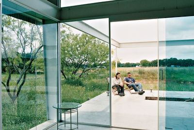 Dallas live work studio patio through glass doors