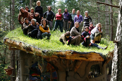 The MudGirls Collective on top of a living roof