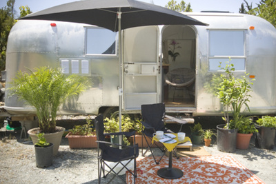 Exterior view of renovated Airstream trailer