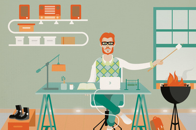 Modern home office illustration by Arunas Kacinskas