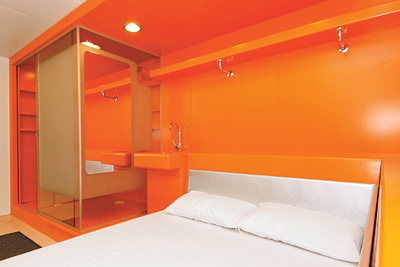travel orange easyhotel room interior