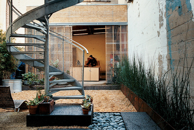 upshift house courtyard stairs