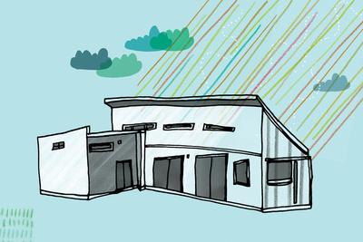 solar 101 house illustration blue green
