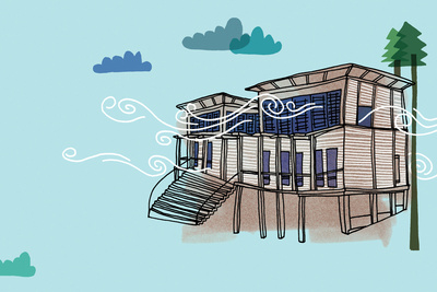 solar 101 house illustration blue
