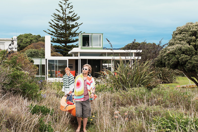 Simple beach house exterior in New Zealand