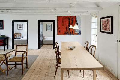 Dining room with custom oak table and Michael Thonet chairs