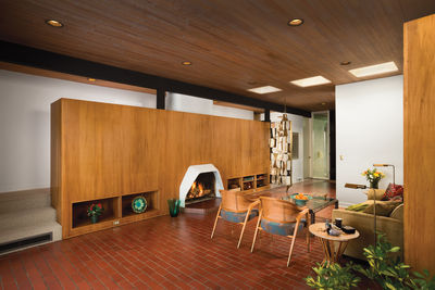 Midcentury living room with vintage furniture