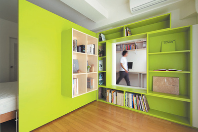 Bright green door in city apartment opens to reveal bookshelves and cut out