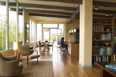 living room of modern wheelchair accessible house in Seattle