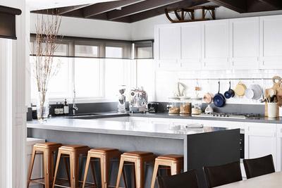 modern kitchen with white countertops