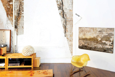 tagliabue house living room concrete walls
