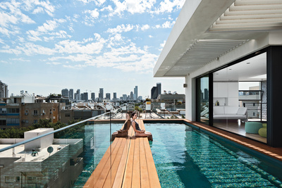 modern house with rooftop pool in israel
