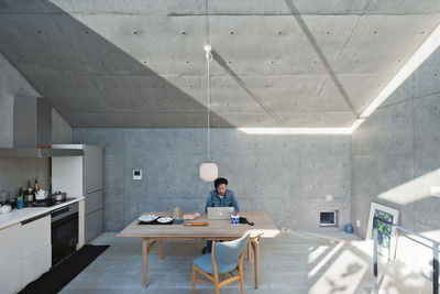 open plan concrete home japan kitchen 1