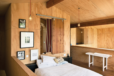 popadich residence plywood mezzanine bedroom