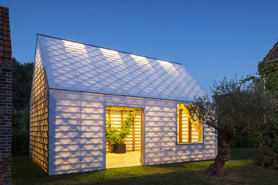 garden room facade night
