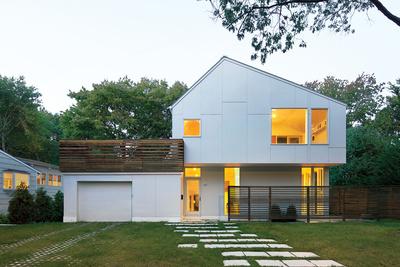 braver house facade roof deck extended cedar screen