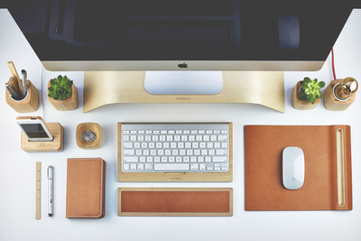 Grovemade wood desk accessories in maple