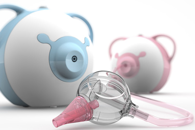 Nosiboo babycare nasal aspirator in pink and blue.