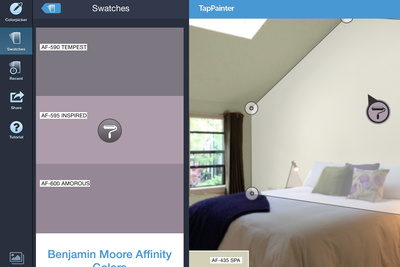 TapPainter app color swatches and shape selector.