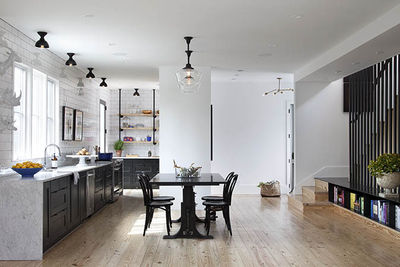 Open-plan kitchen and dining room in an Austin home