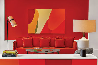 Manhattan hotel room with vivid color treatment.