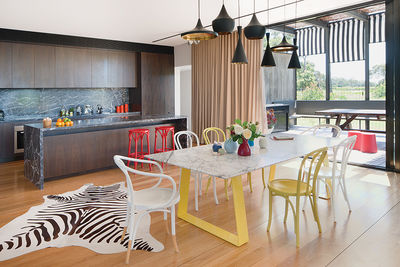 tread lightly australia kitchen dining tom dixon pendant lamps steel marble table chris connell