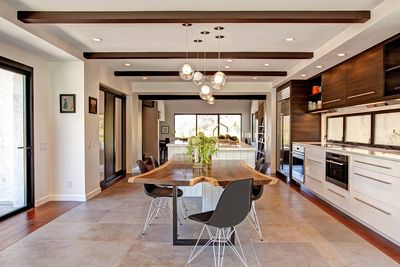 Encinitas kitchen remodel features custom table.