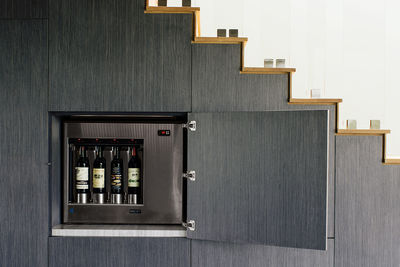 beverly hills staircase wine storage