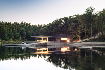 A modern lakeside boathouse in Ontario
