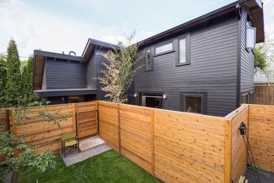 portland adu black exterior wood fence