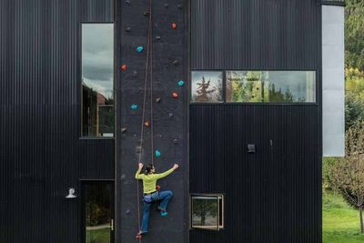 wyoming box home rock climbing wall rec