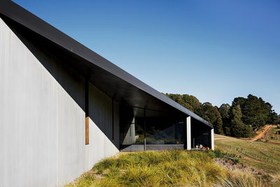 Steel overhang exterior of house designed by Kerstin Thompson Architects.