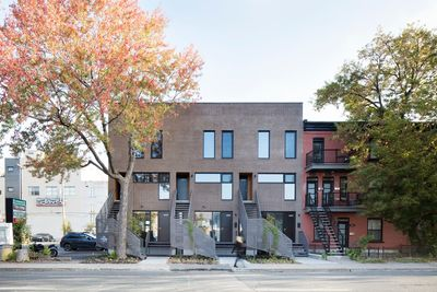 Brick facade of town houses in Canada.