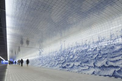 Dutch tunnel with 80,000 Delft blue tiles.