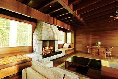 August Moon cabin living room and fireplace.