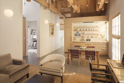 Wood-lined living area in a renovated barn