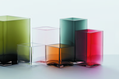 Colorful diamond-shaped hand-blown glass vases