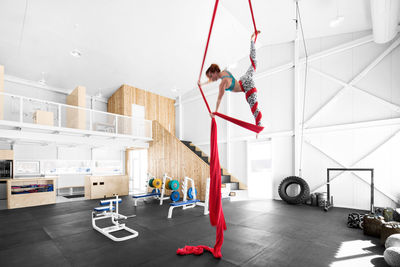 High-ceilinged fitness center in Canada