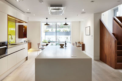 Modern kitchen in London with white oak floors