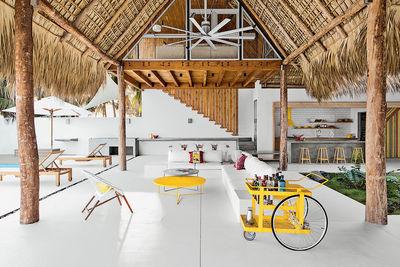 modern beach house thatch roof living dining bar cart
